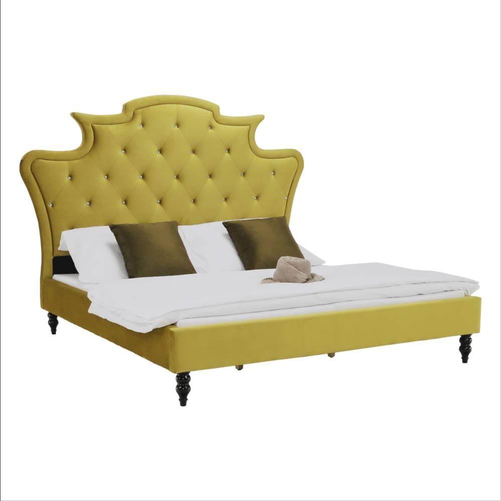 Tempo Kondela Luxusná posteľ zlatá Velvet látka 180x200 REINA
