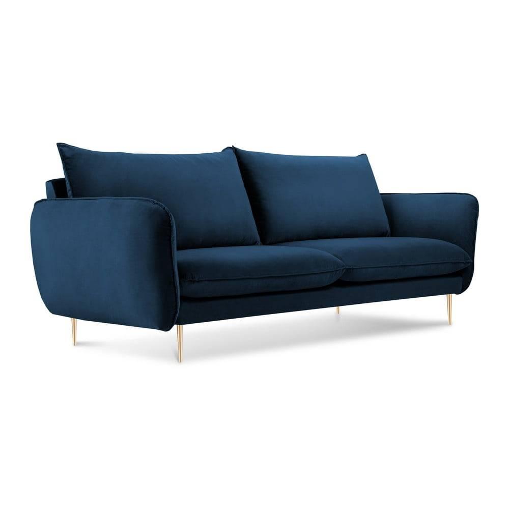 Cosmopolitan Design Modrá zamatová pohovka Cosmopolitan Design Florence,160 cm