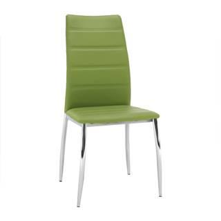 Jedálenská stolička ekokoža zelená/chróm DELA